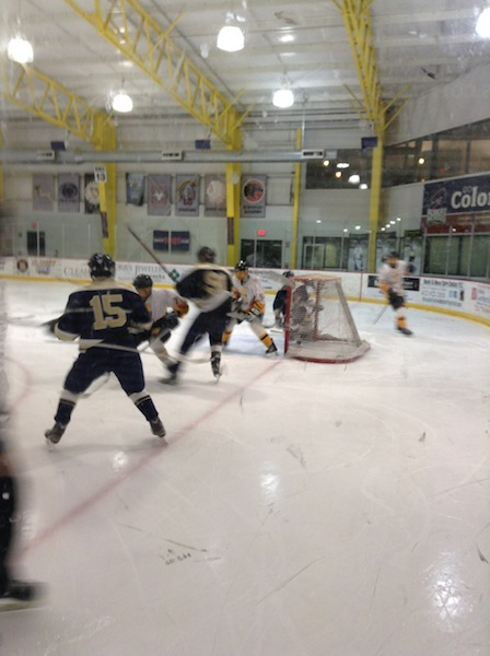 Assistant captain Zachary Bearley glides into Montours zone controlling the puck.