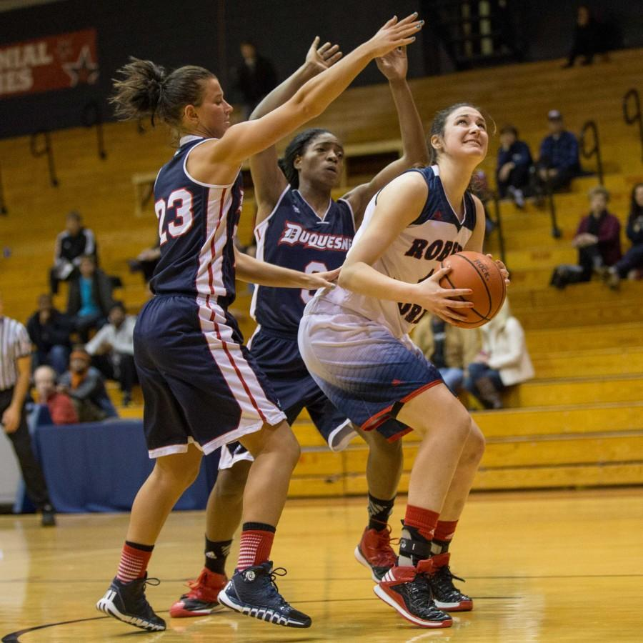 Judith+Sole%27s+double-double+was+not+enough+to+lift+RMU+over+rival+Duquesne+Sunday+afternoon.+