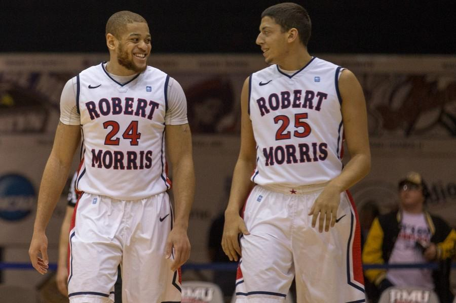 Conrad+Stephens+%28right%29+received+his+first+playing+time+in+an+RMU+uniform+during+the+Colonials%27+22+point+win+over+FDU.