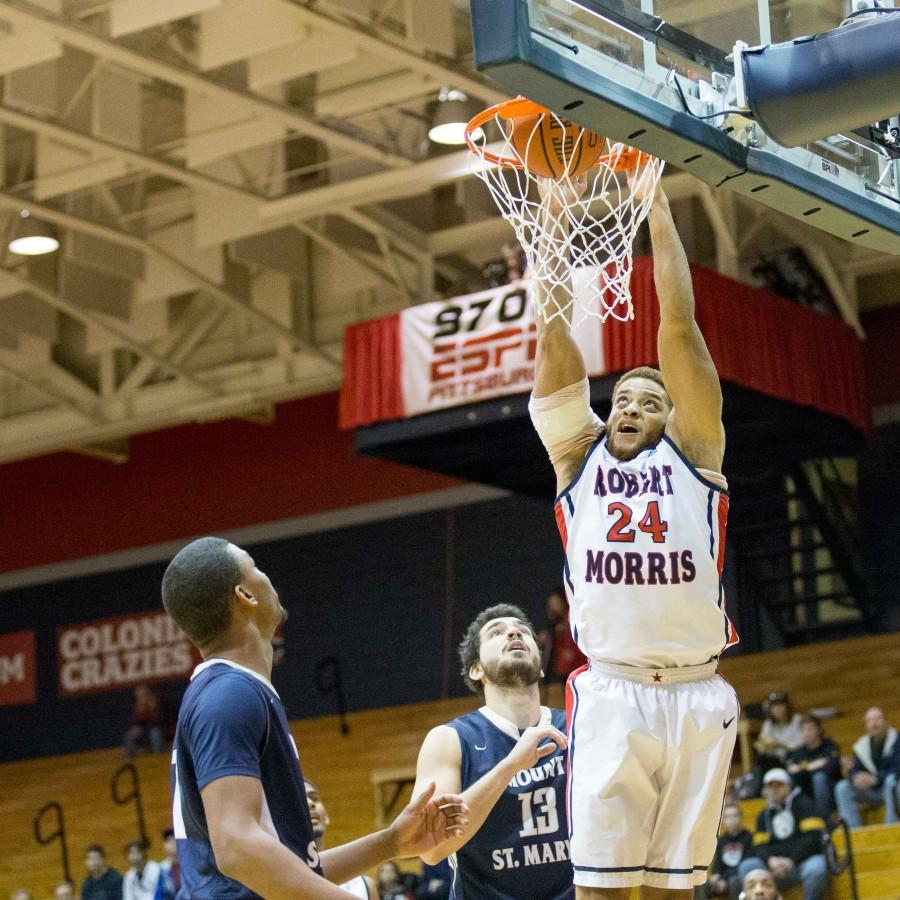Aaron+Tate+contributed+eight+points%2C+four+rebounds+and+three+assists+in+RMU%27s+25+point+win+over+Mount+St.+Mary%27s+Saturday.+