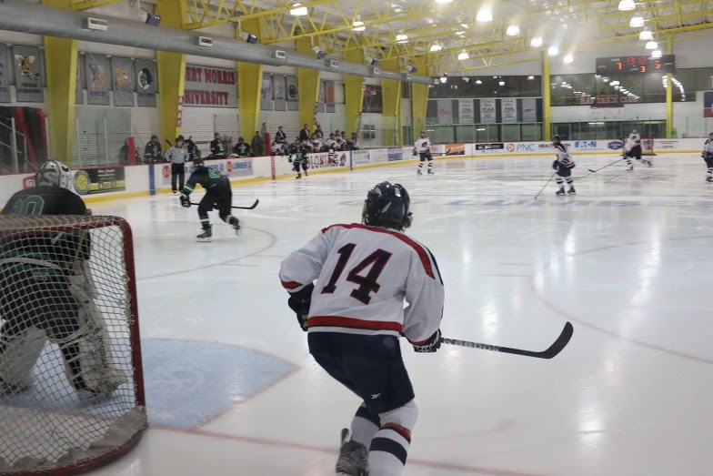The RMU ACHA D1 hockey team scored seven goals in the first two periods en route to a 9-5 win over Slippery Rock.
