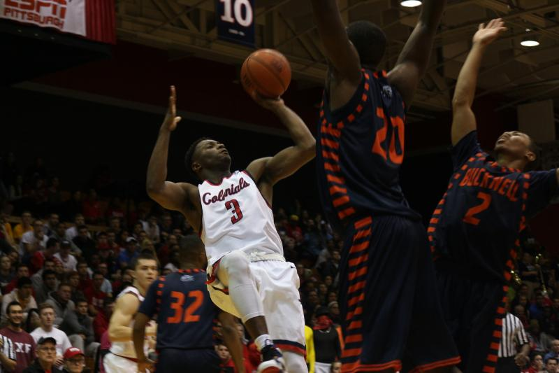Kavon Stewart going up for shot in their most recent home match up against Bucknell back in 2015