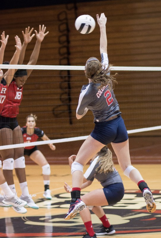 The+RMU+Women%27s+Volleyball+team+swept+Rutgers+3-0+in+the+final+game+of+the+Robert+Morris+Invitational.+