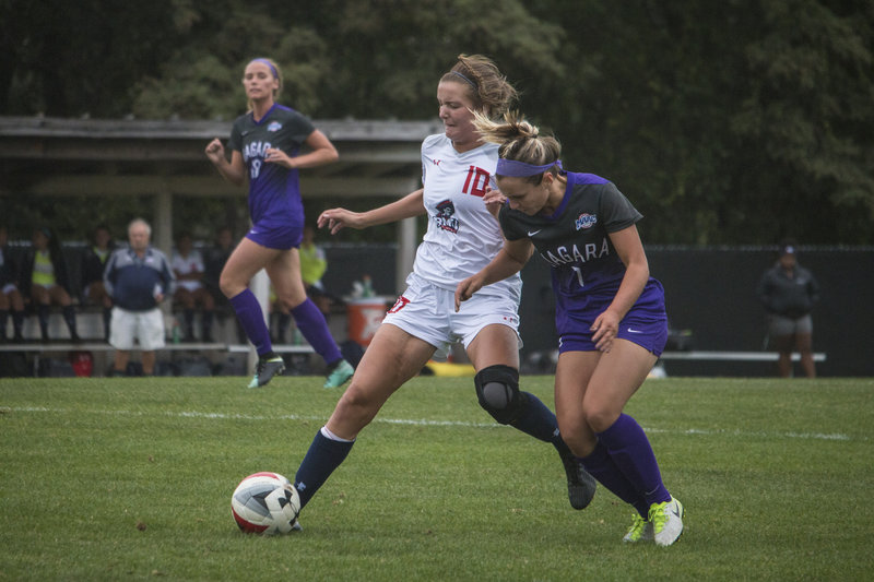Colonials lose early lead, fall to Purple Eagles 2-1
