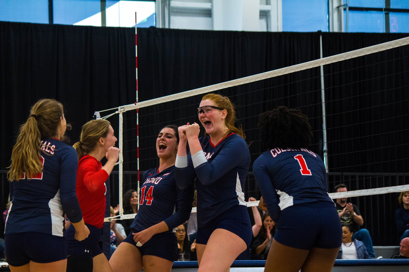 Emma Granger and her teammates celebrate another point during their 3-set sweep of Fairleigh Dickinson Photo credit: Samuel Anthony