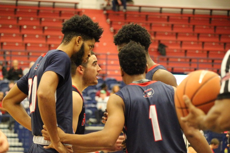 The RMU Men's Basketball team beat Duquesne 66 - 59 on November 19th, 2017.
