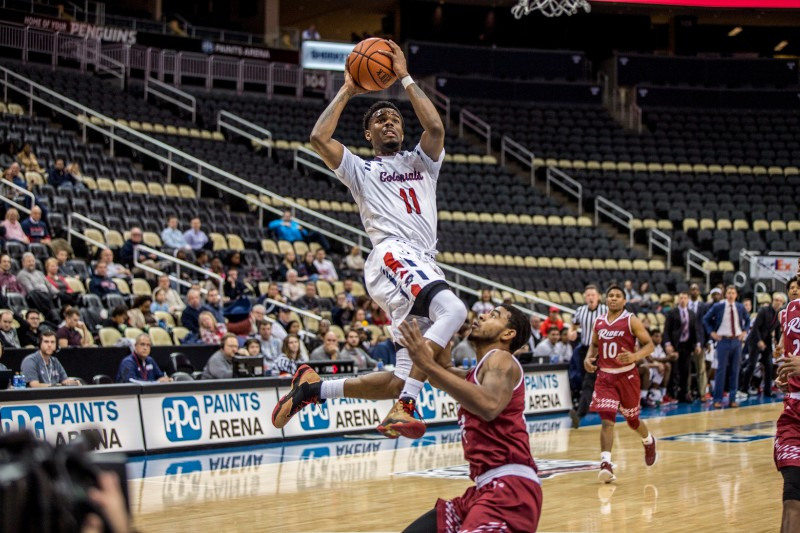 The RMU Men's Basketball Team took on Rider at the PPG Paints Arena on Wednesday, December 6th, 2017.