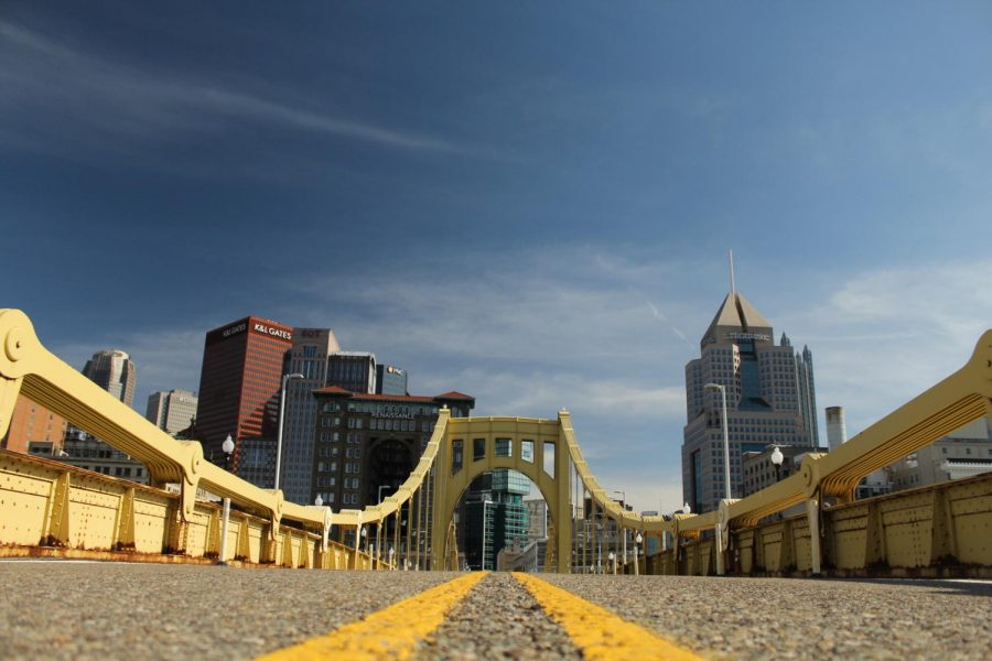 The City of Pittsburgh captured from the Roberto Clemente Bridge.