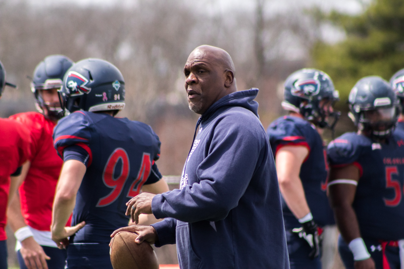New head coach Bernard Clark works with his team in preparation for his first season at the helm.