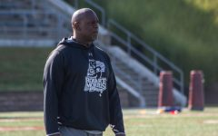 New RMU head coach Bernard Clark runs practice at Joe Walton Stadium. August 27, 2018. (Samuel Anthony/RMU Sentry Media)