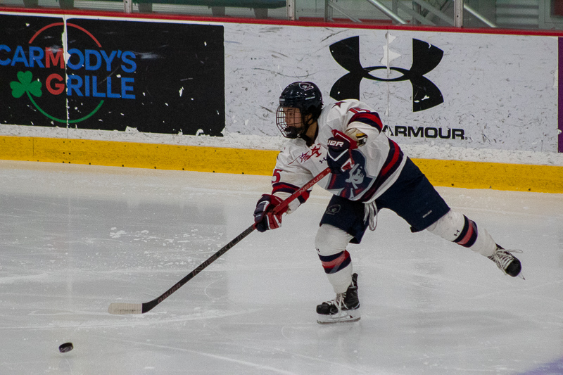 Sarah Lecavalier sends the puck towards the net as the Colonials battled the Saint Lawrence Saints in their first regular season series in October.