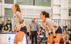 Taylor Lord(right) and Erika Wilt(left) anticipate the next point during their 3-set sweep of the FDU Knights.