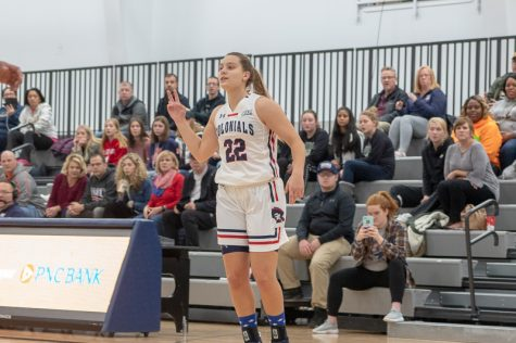 RMU freshman Esther Castedo playing in her first game at the North Athletic Complex this season against the La Salle Explorers.