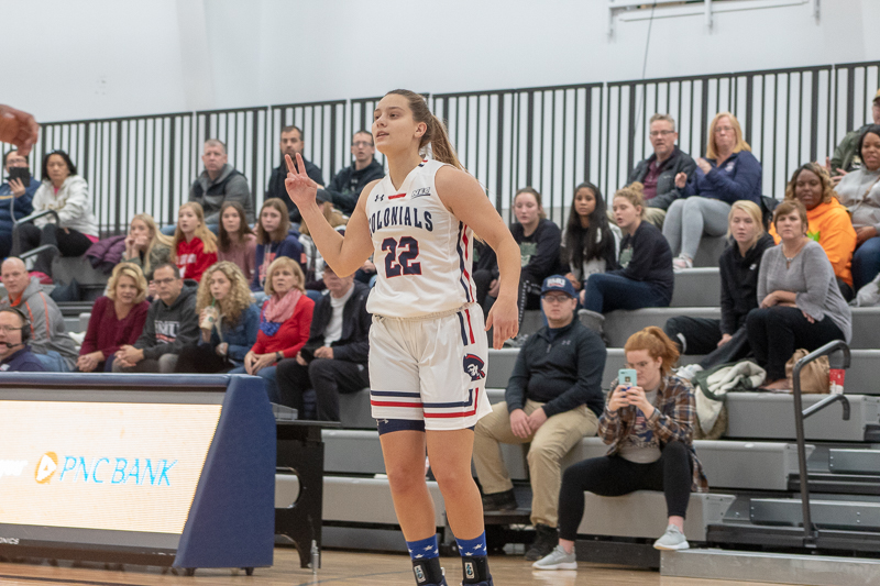 RMU+freshman+Esther+Castedo+playing+in+her+first+game+at+the+North+Athletic+Complex+this+season+against+the+La+Salle+Explorers.