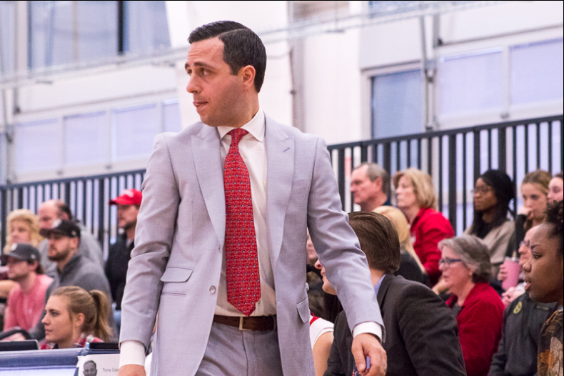 RMU+women%27s+basketball+head+coach+Charlie+Buscaglia+looks+on+during+a+game+against+Youngstown+State.+Moon+Township%2C+PA+%28RMU+Sentry+Media%2FSamuel+Anthony%29