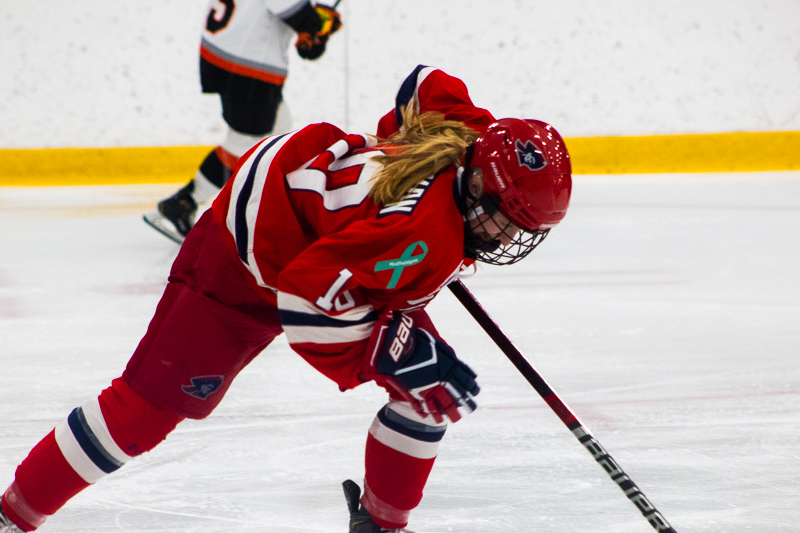 Lexi Templeman rushes off the ice during a line change against RIT. Neville Island, PA Friday Jan. 25, 2019. (RMU Sentry Media/Samuel Anthony)