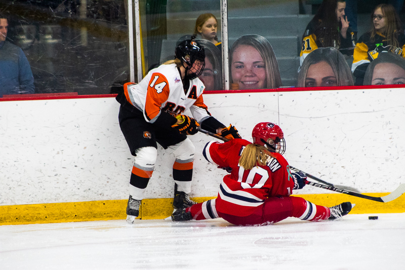 Lexi Templeman stretches out on the ice, fighting for the puck. Neville Island, PA Friday Jan. 25, 2019. (RMU Sentry Media/Samuel Anthony)