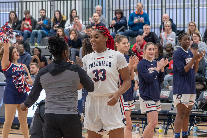 Nneka Ezeigbo is announced as a starter for the game against La Salle on November 11, 2018 (Sam Anthony/RMU Sentry Media). Photo credit: Samuel Anthony