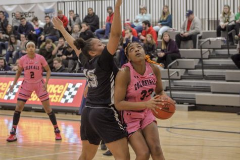 Nneka Ezeigbo goes for the basket against LIU Brooklyn. Moon, PA Feb. 25, 2019. (RMU Sentry Media/Samuel Anthony)