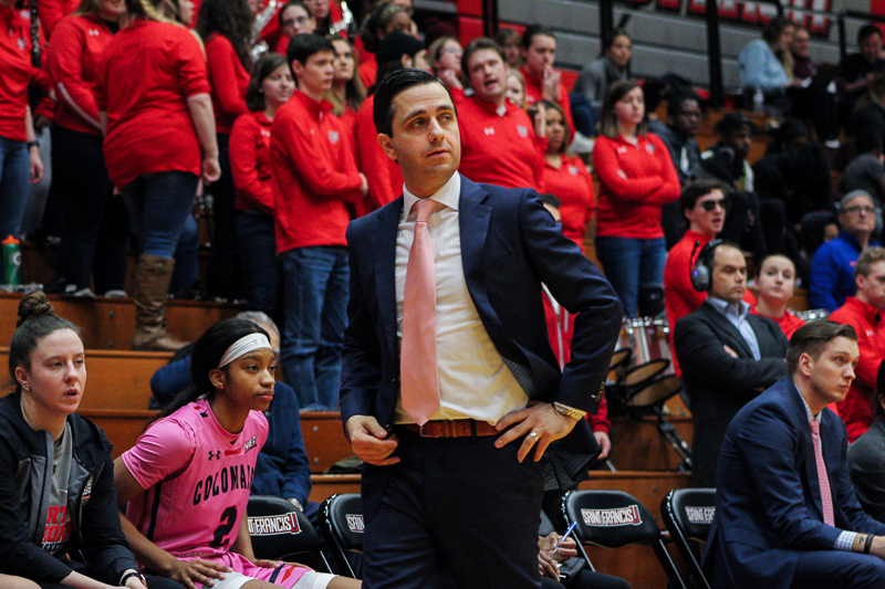 RMU Womens Basketball Head Coach Charlie Buscaglia looks on during the game. Loretto, PA Feb. 18, 2019. (RMU Sentry Media/Samuel Anthony)