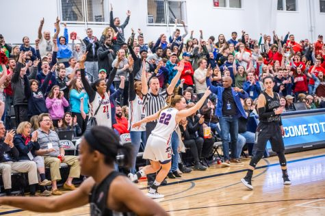 Esther Castedo hits clutch three late in the NEC championship game. March 17, 2019 Moon Township, PA (David Auth/RMU Sentry Media)
