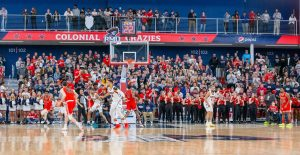 Robert Morris basketball last played in March's NEC championship game and will finally return to play nearly eight months later in November. Photo credit- Thomas Ognibene