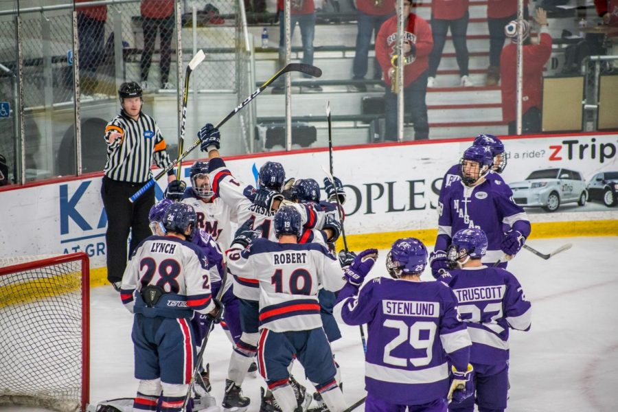 Men's hockey placed sixth in the AHA preseason coaches poll. Photo Credit: David Auth