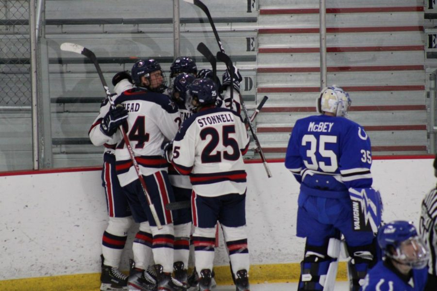The+Colonials+celebrate+Jordan+Timmons%27+first+goal+as+a+Colonial.+Photo+Credit%3A+Nathan+Breisinger