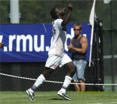Neco Brett was named to the Northeast Conference men's soccer Mount Rushmore team. Photo Credit: RMU Athletics