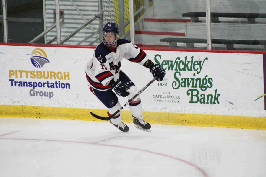 Randy Hernandez scored the game-winning goal late in the third period to seal Robert Morris' first conference victory of the new season. Photo Credit: Nathan Breisinger