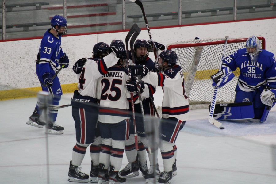 Colonials celebrate after a goal against Alabama-Huntsville on November 21, 2020 Credit: Nathan Breisinger