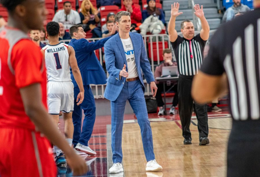 Andy Toole and the rest of the Colonials will have to wait to play their next game after their game against West Virginia tonight was canceled due to COVID violations. Photo credit: David Auth