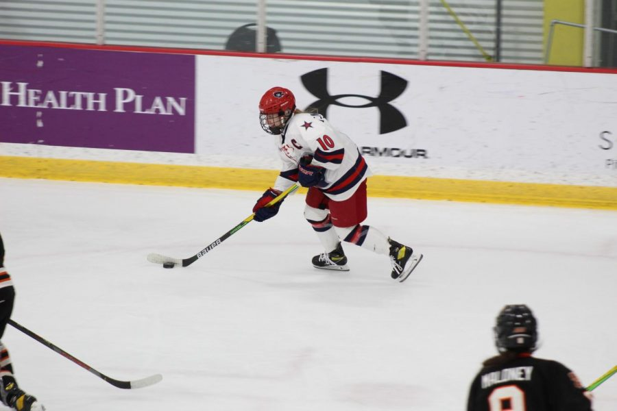 Lexi+Templeman+scored+a+hat+trick+in+the+first+period+as+the+Colonials+routed+the+Tigers+7-0.+Photo+Credit%3A+Ethan+Morrison