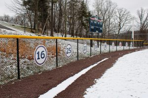 Softball's retired numbers. Photo Credit: Tyler Gallo