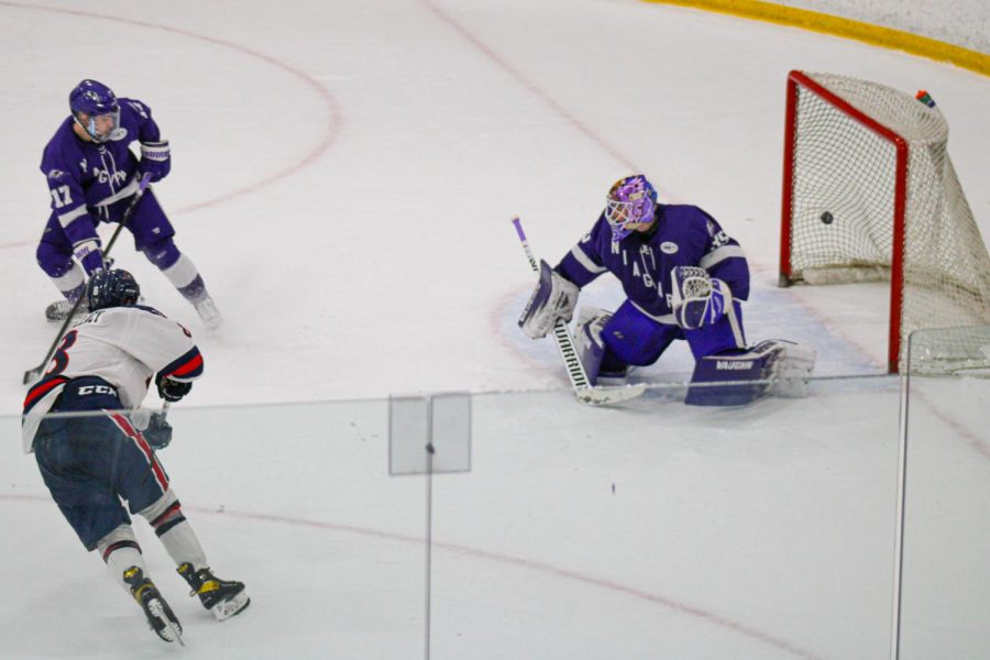 Aidan Spellacy scores the game winning goal against Niagara on January 9, 2020 Photo credit: Nathan Breisinger