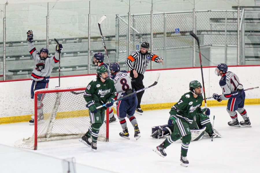 Roman+Kraemer+celebrates+his+game-winning+goal+on+Saturday%2C+completing+the+comeback+against+Mercyhurst.+Photo+Credit%3A+Nathan+Breisinger