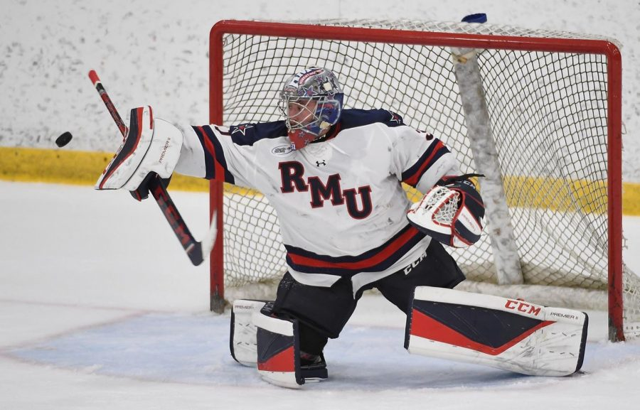 Noah+West+was+named+Atlantic+Hockey%27s+Goaltender+of+the+Month+for+December+2020.+Photo+Credit%3A+RMU+Athletics
