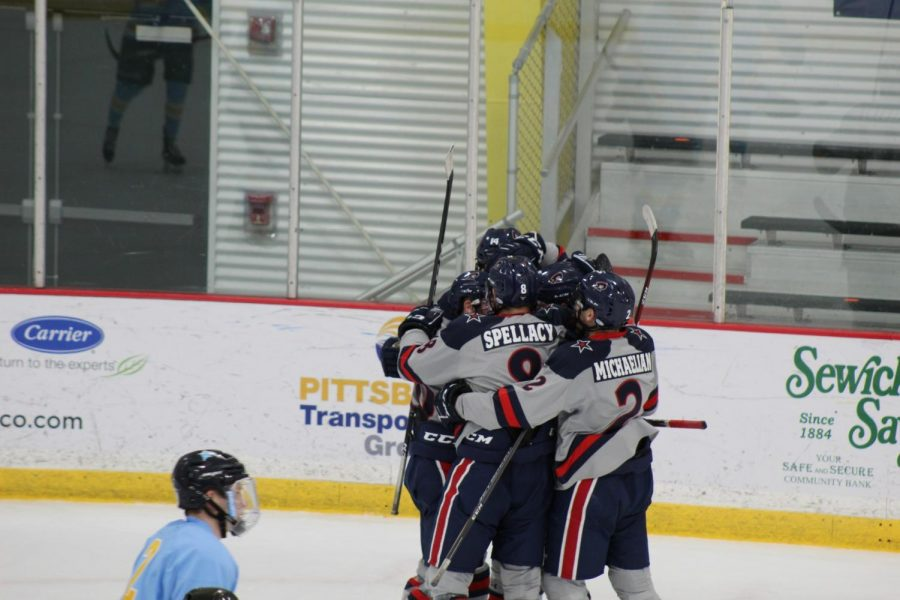 The+Colonials+celebrate+a+goal+on+Thursday+night.+Photo+Credit%3A+Ethan+Morrison