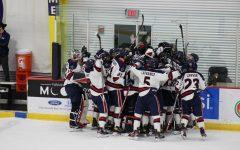Men's hockey celebrates a regular-season win over Niagara, looking to do the same this weekend. Photo Credit: Nathan Breisinger