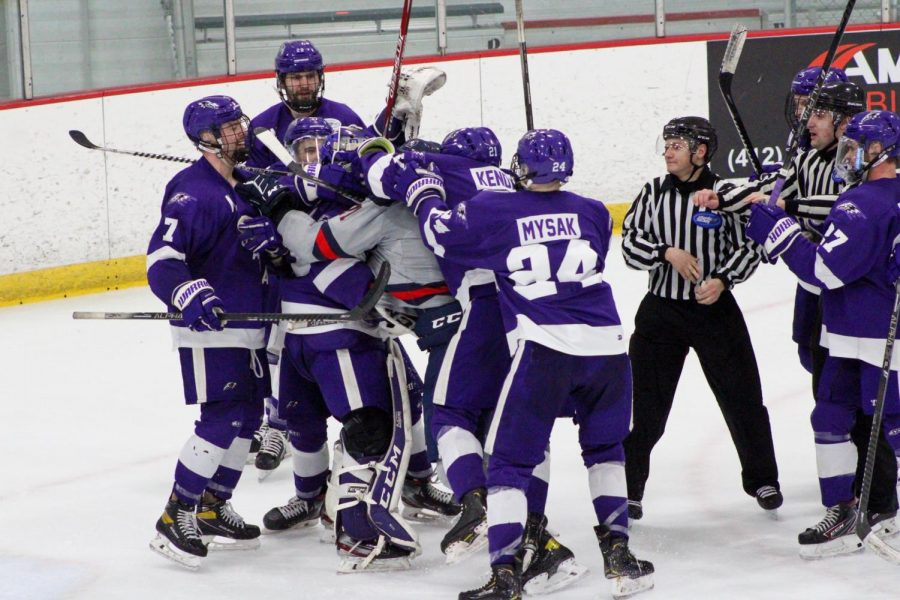 Justin Addamo attempts to charge at Jordan Wishman following the loss to Niagara. Photo Credit: Tyler Gallo