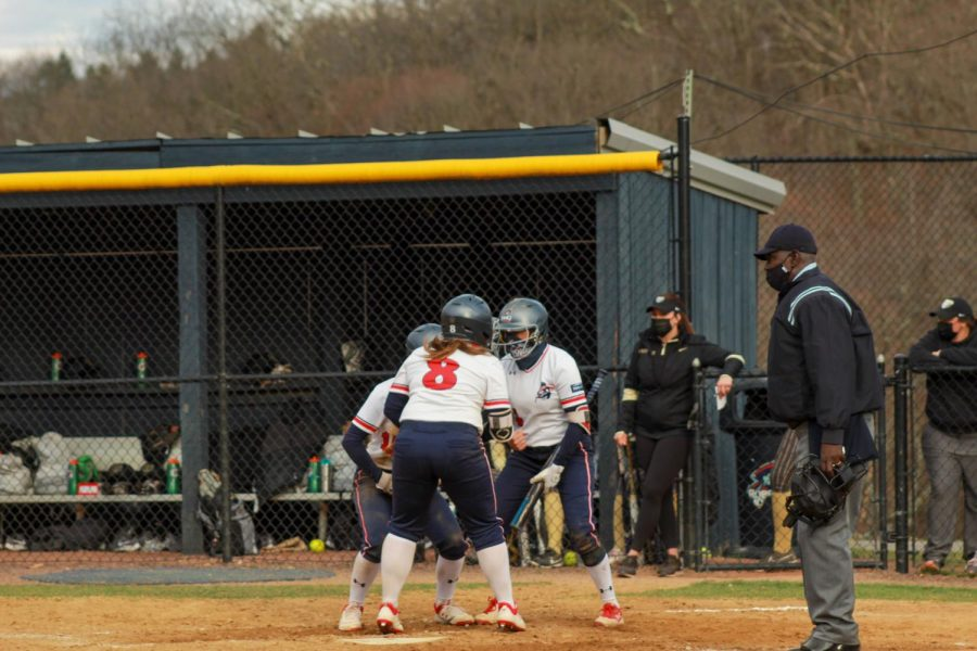 Erika Bell celebrates her clutch home run in the bottom of the sixth. Photo Credit: Ethan Morrison
