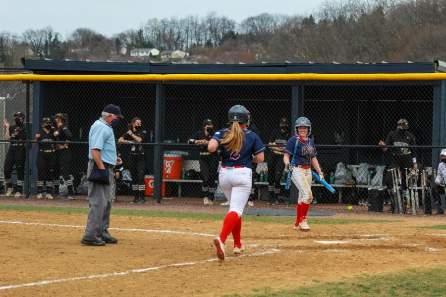 Kristyna Mala touches home plate following her first career homerun on Saturday. Photo Credit: Colby Sherwin