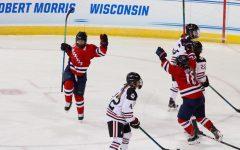 Emily Curlett celebrates the first-ever NCAA Tournament goal for the Robert Morris women's hockey team. Erie, PA 03/15/2021 (Nate Breisinger)