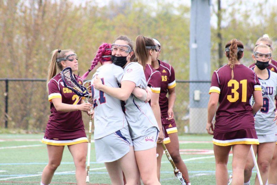 Clio Kerr celebrates one of her goals on Saturday. Photo Credit: Nathan Breisinger