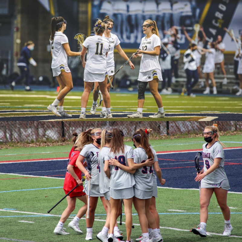 Robert Morris womens lacrosse will look to unseat no. 5 Notre Dame in the NCAA Tournament. Photo(s) Credit: Notre Dame Athletics, Tyler Gallo
