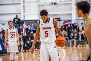 Malik Petteway sets up for a free throw against Bryant in 2019. Photo Credit: David Auth