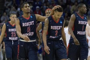 Ethan Morrison breaks down how good the 2014-15 men's basketball roster was. Photo Credit: Kyle Gorcey/RMU Sentry Media