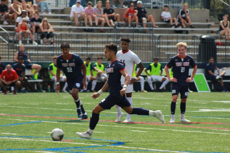 Gal Ben Dayan attempts a penalty kick he would eventually score on against Duquesne.