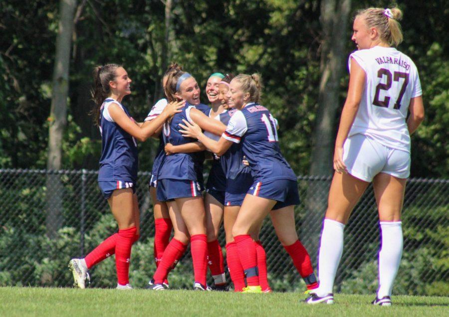Womens soccer celebrates a goal against Valparaiso.